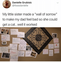 """Bad, Dad, and Fam: Danielle Grubisic  @ltsssdanielle  My little sister made a """"wall of sorrow""""  to make my dad feel bad so she could  get a cat..well it worked  inocend nts  ease  Hate  but  Pleac, yo  刁  o hove a fam  な  Mahe sxe  to read all tho It's time u finally follow @kalesalad and join the revolution"""