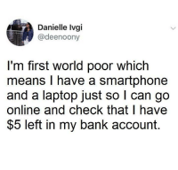 Bank, Laptop, and World: Danielle Ivgi  @deenoony  I'm first world poor which  means I have a smartphone  and a laptop just so l can go  online and check that l have  $5 left in my bank account. I just go hard on weekends