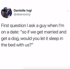 "Dogs, Instagram, and Target: Danielle lvgi  @deenoony  First question I ask a guy when I'm  on a date: ""so if we get married and  get a dog, would you let it sleep in  the bed with us?"" Second question: I meant 6 dogs.Via @deenoony"