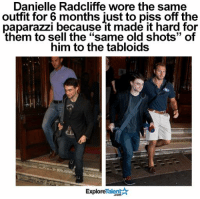 "Memes, 🤖, and Paparazzi: Danielle Radcliffe wore the same  outfit for 6 months just to piss off the  paparazzi because it made it hard for  them to sell the ""same old shots"" of  him to the tabloids  TalentA  Explore Just 1 more reason to love this dude! 🙏🏼😛"
