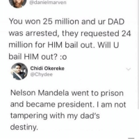 Dad, Destiny, and Memes: @danielmarven  You won 25 million and ur DAD  was arrested, they requested 24  million for HIM bail out. Will U  bail HIM out? :o  Chidi Okereke  @Chydee  Nelson Mandela went to prison  and became president. I am not  tampering with my dad's  destiny. 😩