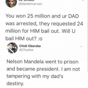 Would you tamper with his destiny by fatehpuria92 MORE MEMES: @danielmarven  You won 25 million and ur DAD  was arrested, they requested 24  million for HIM bail out. Will U  bail HIM out? :o  Chidi Okereke  @Chydee  Nelson Mandela went to prison  and became president. I am not  tampering with my dad's  destiny Would you tamper with his destiny by fatehpuria92 MORE MEMES