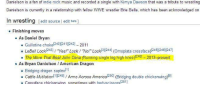 """America, Bodies , and John Cena: Danielson is a fan of indie rock music and recorded a single with Kimya Dawson that was a tribute to wrestling  ic a Danielson is currently in a relationship with fellow  WWE wrestler Brie Bella, which has been acknowledged on  n wrestling  edit source  l  edit beta  l  Finishing moves  As Daniel Bryan  Guillotine choke C24012411242  2011  LeBell Lock 1243  es!"""" Lock """"No!  Lock 311244]  (omoplata crossface)  [245][246][2471  The Move That Beat John Cena (Running single leg high knee)12481- 2013-present  As Bryan Danielson American Dragon  [11  Bridging dragon suplex  Cattle Mutilation  11249  Arms Across America  1250]  (Bridging double chickenwi  ng)  Crossface chicken  sometimes with body/scissors  1251 I couldn't have named it better myself. Credit: Wrestleview International Desk"""