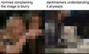Laughs in -3.75 vision: dankmemers understanding  it anyways  normies complaining  the image is blurry Laughs in -3.75 vision