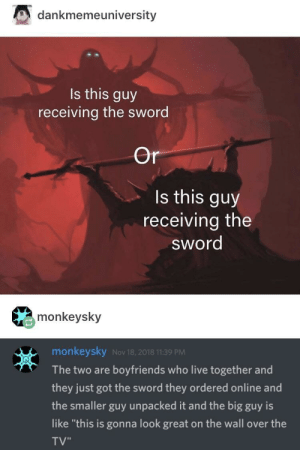 """Live, Sword, and Got: dankmemeuniversity  Is this guy  receiving the sword  Or  Is this guy  receiving the  sword  monkeysky  monkeysky Nov 18, 2018 11:39 PM  The two are boyfriends who live together and  they just got the sword they ordered online and  the smaller guy unpacked it and the big guy is  like """"this is gonna look great on the wall over the  TV"""" honestly? i ship it"""
