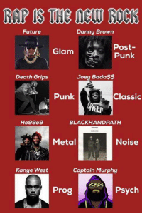 Dank, Kanye, and Kanye West: Danny Brown  Future  Post-  Glam  Punk  Joey Bada$$  Death Grips  Punk  Classic  Ho99o9  BLACK HAND PATH  Noise  Metal  Kanye West  Captain Murphy  Prog  Psych