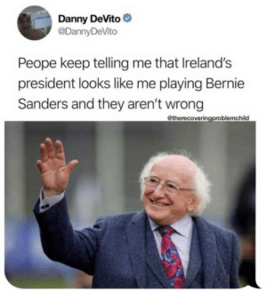blessedimagesblog:Blessed Danny Devito: Danny DeVito  @DannyDeVito  Peope keep telling me that Ireland's  president looks like me playing Bernie  Sanders and they aren't wrong  @therecoveringproblemchild blessedimagesblog:Blessed Danny Devito