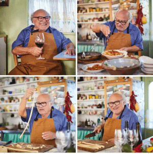 Danny Devito making pasta and drinking a nice glass of wine <3: Danny Devito making pasta and drinking a nice glass of wine <3