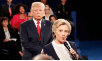 Christmas, Creepy, and Dank: Danny Elfman, the guy who did the creepy, menacing music for Beetlejuice, The Nightmare Before Christmas and Tales From The Crypt, composed a creepy, menacing horror score for the footage of Trump stalking Hillary at the debates.