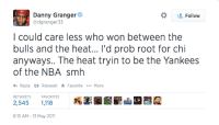 3 years after bagging on the Miami Heat, Danny Granger is headed to Heat Nation! #Ironic: Danny Granger  Follow  @dgranger 33  I could care less who won between the  bulls and the heat... I'd prob root for chi  anyways.. The heat tryin to be the Yankees  of the NBA smh  <h Reply ta Retweet Favorite  More  RETWEETS  FAVORITES  8:15 AM 13 May 2011 3 years after bagging on the Miami Heat, Danny Granger is headed to Heat Nation! #Ironic
