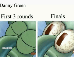 Danny Green has really woken up this series! https://t.co/0lzddfdCxZ: Danny Green  Finals  First 3 rounds  @NBAMEMES Danny Green has really woken up this series! https://t.co/0lzddfdCxZ