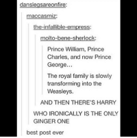 🔥 theweasleys theroyalfamily princewilliam princecharles princegeorge harrypotter: danslegsareonfire:  maccasmiz:  the-infallible-empress:  molto-bene-sherlock  Prince William, Prince  Charles, and now Prince  George..  The royal family is slowly  transforming into the  Weasleys.  AND THEN THERE'S HARRY  WHO IRONICALLY IS THE ONLY  GINGER ONE  best post ever 🔥 theweasleys theroyalfamily princewilliam princecharles princegeorge harrypotter