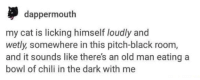 Old Man, Black, and Old: dappermouth  my cat is licking himself loudly and  wetly, somewhere in this pitch-black room,  and it sounds like there's an old man eating a  bowl of chili in the dark with me me irl