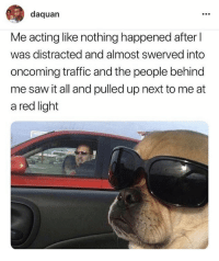 Funny Memes. Updated Daily! ⇢ FunnyJoke.tumblr.com 😀: daquan  Me acting like nothing happened after l  was distracted and almost swerved into  oncoming traffic and the people behind  me saw it all and pulled up next to me at  a red light Funny Memes. Updated Daily! ⇢ FunnyJoke.tumblr.com 😀