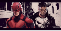 "Love, Memes, and Daredevil: ""Daredevil and Punisher"" by Eric Guerrero  http://e-guerrero.deviantart.com/  (Nerds Love Art)"