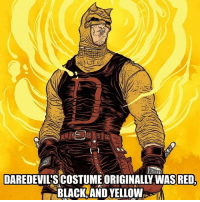 Check out @game_fiendz Artwork by (R.Grampa): DAREDEVILSCOSTUME ORIGINALLY WAS RED,  BLACK AND YELLOW Check out @game_fiendz Artwork by (R.Grampa)