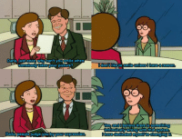 Daria (1997–2001): Daria nust once why can't vousmile when  somebody takesyour picture?  Daria People judge youibyyourexpression  CHO  dont like to smile unless I haveareason  OHO  WeS and Obelieve there US Something  ntrinsically wrong with that System  have dedicated myselftoChanging Daria (1997–2001)