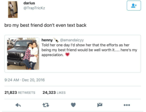 What friends are for: darius  @TrapTricKz  bro my best friend don't even text back  henny @amandaicyy  Told her one day l'd show her that the efforts as her  being my best friend would be well worth it..... here's my  appreciation.  9:24 AM Dec 20, 2016  21,823 RETWEETS  24,323 LIKES What friends are for