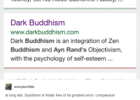 objectivism: Dark Buddhism  www.darkbuddhism.com  Dark Buddhism is an integration of Zern  Buddhism and Ayn Rand's Objectivism,  with the psychology of self-esteem  averyterrible  at long last, Buddhism is finally free of its greatest error: compassion
