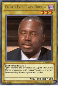 ~bannedmin: DARK  CLOSED-EYES BLACK DoCTOR  B  BUILD-WALL  INEUROSURGEON  After opening the Pyramids in Egypt, the Black  Doctor was cursed with eternal tiredness, bringing  him repeating dreams of rats and snakes.  ATK 350 DEF 200  02016 DONALD TRUMP  MAGA2016 ~bannedmin