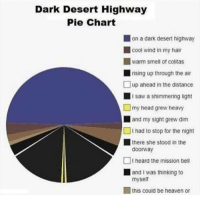 pie chart: Dark Desert Highway  Pie Chart  on a dark desert highway  cool wind in my hair  warm smell of colitas  rising up through the air  up ahead in the distance  I saw a shimmering light  my head grew heavy  and my sight grew dim  I had to stop for the night  there she stood in thee  doorway  I heard the mission bell  and I was thinking to  myself  this could be heaven or
