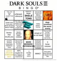 """Berserk: DARK SOULS  B I N G O*  progresively  That one NPC  YOU, YOU  that just kinda  GIVE  arger  a Berserk  hangs out  ME  SKELE  ADJECTIVE! reference  at the hub  URPRISE  and complains  about things  TONS  being hard  THAT ONE NPC  Hidden area  YOU SAVED  if you jump  FROMACAGE  rickety  somehow  AND IS Now  off the elevator  KILLING  poison  the worst  swamp  before it stops  OTHER NPCs  enemy  why did you do that  That one NPC  Vendor  SQUID  HELMET  that  GIANT  you help  rehash of  throughout  an old boss  the game  insults you HAMMER  but then  dies horribly  CANTBELME YOU  powerfu  That one NPC  ACTUALLY KILLED  MORE  THIS INCREDIBLY  that helps you  Sorcerer  TRAGIC BOSS THAT  throughout  BERSERK  WAS JUST TRYING  horse  inexplicably  TO HELP BUT WAS  the game  ALSO UNSKIPPABLE  trapped by  and then  EFERENC  ID YOU COULDNT LEARN  Corpses  THE TRAGIC BIT  UNTILAFTER KILLING IT  dies horribly  YOU MONSTER  GIANT  NPC  early game  YELLOW  aughs for  familiar  MIMIC! boss becomes  TORNADO  VOICe  no reason,  a regular mob  actors  HAT  ater  suspiciously  """"made with no pror knowledge of the game but let's face it they're all going to be in there"""