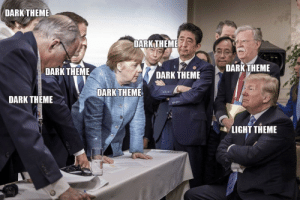 How it feels like using light theme for IDEs: DARK THEME  DARK THEME  DARK THEME  DARKTHEME  DARK THEME  DARK THEME  DARK THEME  LIGHT THEME How it feels like using light theme for IDEs