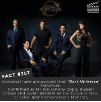 Which Movie of the Dark Universe franchise are you most excited about? 🎥 . . . . Double Tap and Tag someone who needs to know this 👇 All credit to the respective film and producers. movie movies film tv camera cinema fact didyouknow moviefacts cinematography screenplay director actor actress act acting movienight cinemas watchingmovies hollywood bollywood didyouknowmovies: DARK  UNIVERSE  DID YOU KNOW  MOVIES  FACT #257  Universal have announced their Dark Universe  franchise.  Confirmed so far are Johnny Depp, Russell  Crowe and Javier Bardem as The Invisible Man,  Dr Jekyll and Frankenstein's Monster. Which Movie of the Dark Universe franchise are you most excited about? 🎥 . . . . Double Tap and Tag someone who needs to know this 👇 All credit to the respective film and producers. movie movies film tv camera cinema fact didyouknow moviefacts cinematography screenplay director actor actress act acting movienight cinemas watchingmovies hollywood bollywood didyouknowmovies