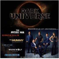 Disney may have The MCU…and WarnerBros may have The DCEU…BUT Universal Has The DarkUniverse ! 😂 That's Right, UniversalStudios is building their very own MonsterUniverse, Starting with TheMummy (2017) ! 😱 JohnnyDepp has recently been Casted as The InvisibleMan Along with JavierBardem as Frankenstein's Monster ! Are you Excited for More MonsterMovies from The 'DARK UNIVERSE'…Comment Below what other Monsters Deserve their own Films ! 💥: DARK  UNIVERSE  MEANWHILE AT UNIVERSAL...  THE  INVISIBLE MAN  RE 8 OR  THE  MUMMY  RESURRECTED  CREATURE  RETURNS  WEREWOLF  RELOADED  FRANKENSTEIN  REGENERATE D  IG  I Q O  MAR  EL UNITE Disney may have The MCU…and WarnerBros may have The DCEU…BUT Universal Has The DarkUniverse ! 😂 That's Right, UniversalStudios is building their very own MonsterUniverse, Starting with TheMummy (2017) ! 😱 JohnnyDepp has recently been Casted as The InvisibleMan Along with JavierBardem as Frankenstein's Monster ! Are you Excited for More MonsterMovies from The 'DARK UNIVERSE'…Comment Below what other Monsters Deserve their own Films ! 💥