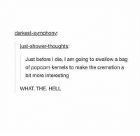 "As the saying ""good planning is the halfway to success"".: darkest-symphony:  just-shower-thoughts:  Just before I die, I am going to swallow a bag  of popcorn kernels to make the cremation a  bit more interesting  WHAT. THE. HELL As the saying ""good planning is the halfway to success""."