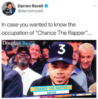"Chance the Rapper, Funny, and Wanted: Darren Rovell  @darrenrovell  In case you wanted to know the  occupation of ""Chance The Rapper"".  DouolasEl  3  EAL ESTATE  CHANCE THE RAPPER  RAPPER  :24  2ND  CLE 31 Shocking! 😂😂 (@zwnrb)"