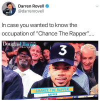 "Chance the Rapper, Memes, and 🤖: Darren Rovell  @darrenrovell  In case you wanted to know the  occupation of ""Chance The Rapper""..  DouolasEl  EST, 1011  3  EAL ESTATE  CHANCE THE RAPPER  RAPPER  :24  3:09  2ND  CLE 31 Thanks for keeping us informed…"