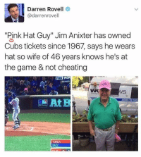 "Cheating, Memes, and The Game: Darren Rovell  @darrenrovell  ""Pink Hat Guy"" Jim Anixter has owned  Cubs tickets since 1967, says he wears  hat so wife of 46 years knows he's at  the game & not cheating  WOR  SURIES  ox  TOMUN  BAEZ 🤣This guy is a legend and his wife is a boss"