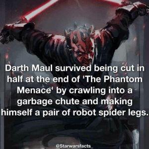 Memes, Spider, and Star Wars: Darth Maul survived being cut in  half at the end of 'The Phantom  Menace' by crawling into a  garbage chute and making  himself a pair of robot spider legs  @Starwarsfacts Q: What is the first Star Wars movie you ever watched? -