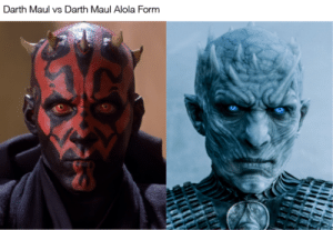 Being Alone, Funny, and Lol: Darth Maul vs Darth Maul Alola Form bitterchaser: the juxtaposition alone was funny enough. then I saw the caption lol