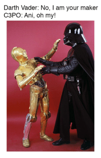 Darth Vader: Darth Vader: No, I am your maker  C3PO: Ani, oh my!