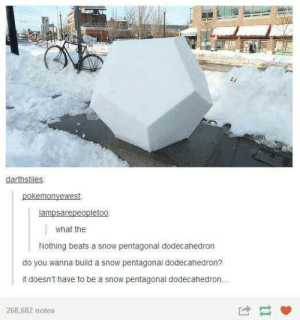Beats, Snow, and Build A: darthstiles  what the  Nothing beats a snow pentagonal dodecahedron  do you wanna build a snow pentagonal dodecahedron?  it doesn't have to be a snow pentagonal dodecahedrorn  268,682 notes or ride our bikes around the halls
