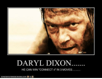 """Daryl Dixon, Can, and Win: DARYL DIXON  HE CAN WIN """"CONNECT 4""""IN 3 MOVES..  I CAN HAS CHEE ZEUR GER, OOM"""