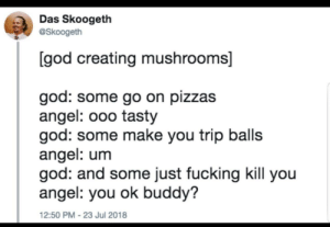 Dank, Fucking, and God: Das Skoogeth  @Skoogeth  [god creating mushrooms]  god: some go on pizzas  angel: ooo tasty  god: some make you trip balls  angel: um  god: and some just fucking kill you  angel: you ok buddy?  12:50 PM-23 Jul 2018 meirl by LANA_WHAT_DangerZone FOLLOW HERE 4 MORE MEMES.