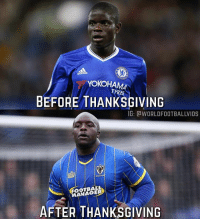 Memes, Thanksgiving, and 🤖: das  YOKOHA  TYRES  BEFORE THANKSGIVING  G: CWORLDFOOTBALLVIDS  FOOTBAL  ANAGER  AFTER THANKSGIVING This 🤣