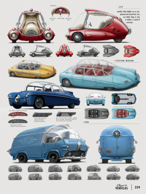 scifiseries:  Retrofuture art of Fallout 4: Dashboard  ZIP  Another little bubble car to com-  plement the Fusion Flea. Cars  are either huge or tiny  in Fallout, a world of  extremes  attach wheel atta  shift  STATION WAGON  TAX  Top of the bar has 4 cup holders ond 2 trays  Car wheel is leather and chrome  liding  stick up  Cabin walls are lined  with plush leather.  Chrome accessories.  bar is hard covered in leather  front. Pull out bin in the back  v VAN  Front panel is lined in  leather, Chrome accessories.  40-  Chap  VEHICLES  |  259 scifiseries:  Retrofuture art of Fallout 4