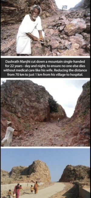 Those who believe they can move mountains, do. Those who believe they cant, cannot.: Dashrath Manjhi cut down a mountain single-handed  for 22 years -day and night, to ensure no one else dies  without medical care like his wife. Reducing the distance  from 70 km to just 1 km from his village to hospital. Those who believe they can move mountains, do. Those who believe they cant, cannot.