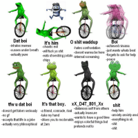 Me🐸irl: Dat boi  Boi  It's him  o shit waddup  chaotic evil  -hates confrontation  -inhales memes  -achieved nirvana  cusses under breath  will fuck yo shit  -just wants whats best  -doesnt wanna be here  -actually pure  -forgets to ask for help  eats shoestring potato  -internal screaming  -peace  Chips  tfw u dat boi  It's that boy  xx DAT 801 Xx  shit  -distances self from others  doesnt get taken seriously -a friend, comrade, riva  -actually insecure  -help him  -no  gf  take my hand  -anxiety anxiety anxi  accepts that life is ajoke  drives you to mcdonalds  wants to have a good time  everything is ok  -actually very philosophical at 2am  -enjoys colorful things but  shit  pretends not to  shit Me🐸irl