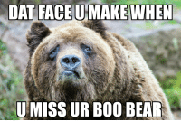 Am I doing this right: DAT FACE MAKE WHEN  U MISS UR BOO BEAR Am I doing this right
