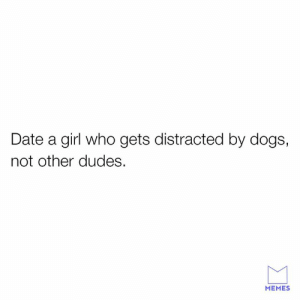Dank, Dogs, and Memes: Date a girl who gets distracted by dogs,  not other dudes.  MEMES The best kind of girl.