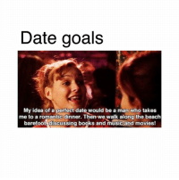 🤗: Date goals  My idea of a perfect date would be a man who takes  me to a romantic dinner. Then we walk along the beach  barefoot discussing books and music and movies! 🤗