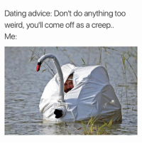 "Advice, Dating, and Memes: Dating advice: Don't doanything too  weird, you'll come off as a creep.  Me ""Just be yourself"" is the worst advice for a weirdo. (Last one by @official.agnew)"