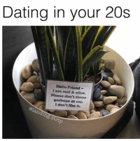 Relatable ( @landing.strip ): Dating in your 20s  Hello Friend-  I am real & alive  Please don't throw  garbage at me.  I don't like it.  @1  .Stri Relatable ( @landing.strip )