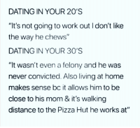 """Dating, Pizza, and Pizza Hut: DATING IN YOUR 20'S  """"It's not going to work out I don't like  the way he chews""""  DATING IN YOUR 30'S  """"It wasn't even a felony and he was  never convicted. Also living at home  makes sense bc it allows him to be  close to his mom & it's walking  distance to the Pizza Hut he works at"""""""