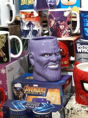 Doctor, Frozen, and Avengers: DATM  W  CM  DOCTO  WHO  nal  FROZEN  A12 46  MARVEL  AVENGERS  INFINITY WAR  DOCTOR  WHO  US DOK INI  OUCE 4 BOX Thanos mug